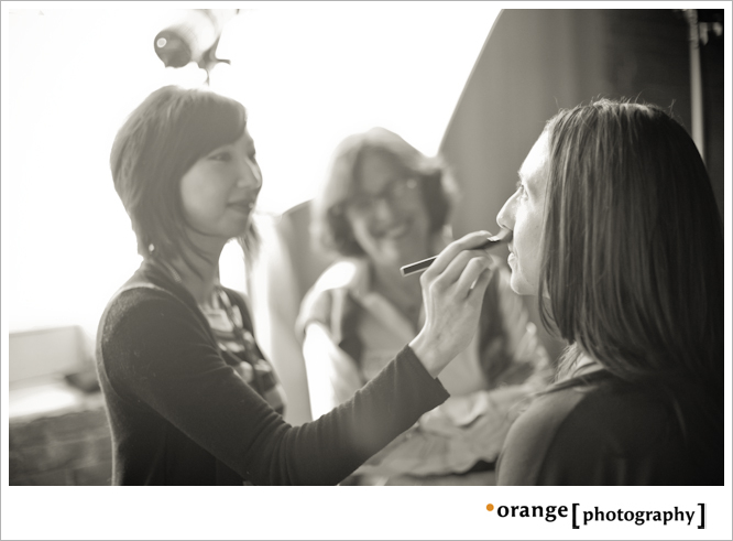 Maria Lee does make-up for our headshots station