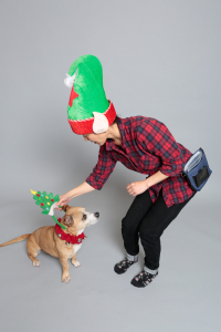 Jung puts Christmas tree hat on Bright Eyes