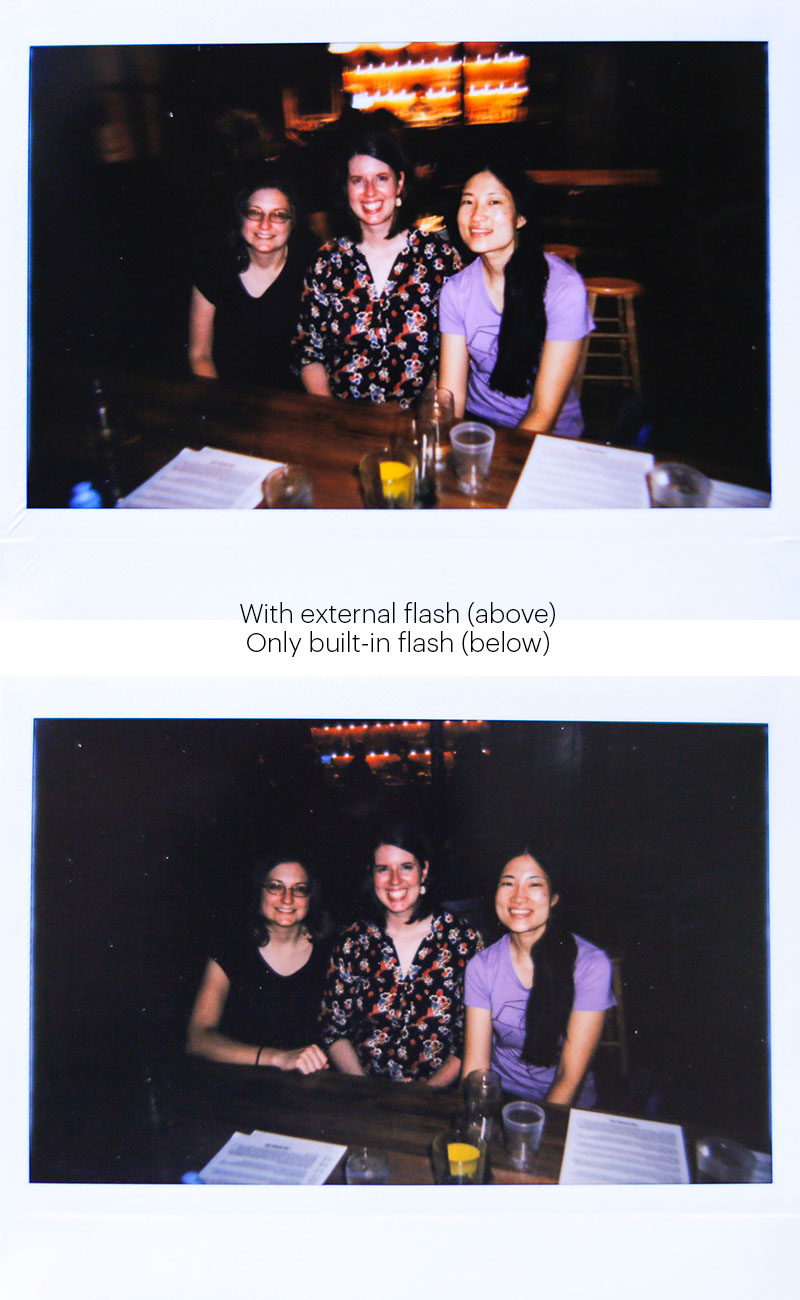 on vs off-camera flash comparison - lomo instant wide review