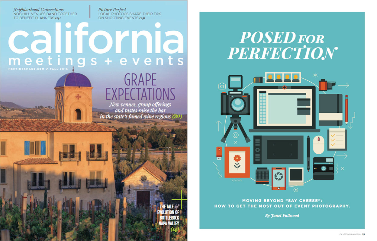 Event photography ideas in California Meetings and Events magazine